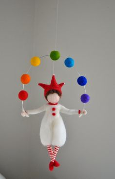Items similar to boys room decoration rainbow felted mobile, nursery, home decor, gift: harlequin on Etsy - Kinderzimmer Wool Dolls, Felt Dolls, Felt Crafts, Diy And Crafts, Arts And Crafts, Wet Felting, Needle Felting, Diy Y Manualidades, Felt Fairy