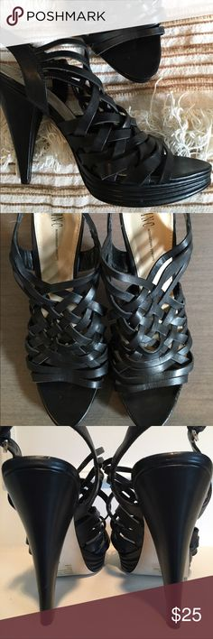 """Macy's INC Cage Black Leather Heeled Sandals INC International Concept Cage Sandals. Genuine leather upper, balance man made. 3/4"""" Platform, 5"""" Heel, Strappy cage design. Pre-owned worn a couple times (some nicks caused from storage see last pic collage) Reflected in price PRICE FIRM INC International Concepts Shoes Heels"""