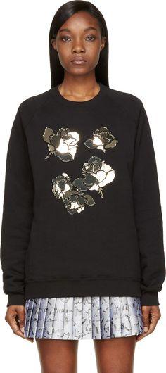 MSGM Black Floral Plexi Mosaic Sweatshirt.