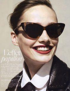 caee28c2699 Model in Paris Vogue wearing Tom Ford Nikita sunglasses.