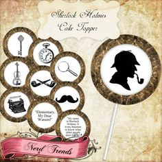 Sherlock Holmes Cake Toppers, Printable Party Toppers, Detective Mystery Digital Collage, INSTANT DOWNLOAD