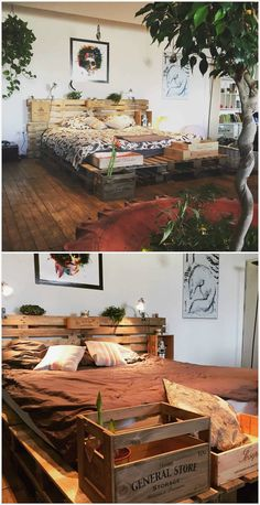 Minimalist Pallet Bed Frame & Headboard - Bed Headboard - Ideas of Bed Headboard - To make this bed frame I used ten pallets and leftover wine crates after family meals.For the mattress 8 pallets were fastened together. Pallet Bedframe, Wood Pallet Beds, Diy Pallet Bed, Diy Pallet Projects, Pallet Furniture, Bed Frame Pallet, Pallet Ideas, Garden Furniture, Furniture Ideas