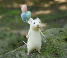 Cute mouse Needle felt mouse White mouse Needle от DidiDaydream