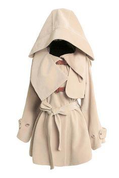 Oversized Collar Self-belted Hooed Woolen Coat