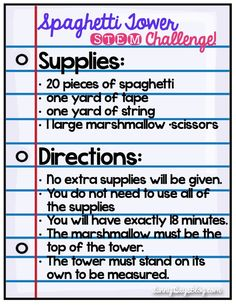 STEM idea: One of the most popular challenges is the Spaghetti Tower (sometimes called Marshmallow Tower) challenge. It's actually a completely doable, fun way for your kids to experiment, collaborate, and problem solve.