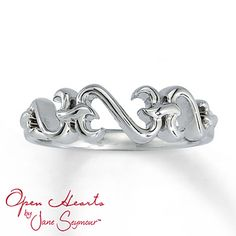 A trio of Open Hearts by Jane Seymour® creates a lovely look in this elegant sterling silver ring for her.