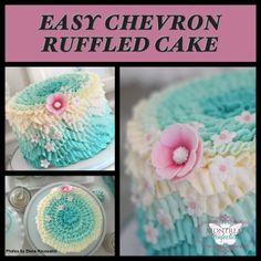 Montreal Confections: chevron cake done in teal ombre & buttercream ruffles (tutorial)