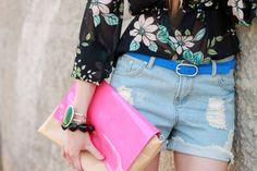good accessory combo, great bracelets, clutch and belt