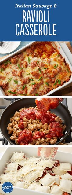Italian Sausage and Ravioli Casserole - For lasagna lovers looking for the easy way to dinner, this tasty ravioli bake recipe will come in handy.