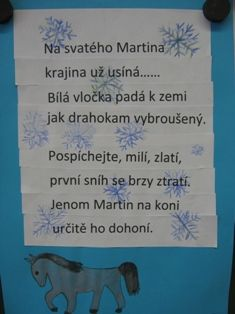 martin na bílém koni pracovní list Aa School, School Clubs, Diy And Crafts, Crafts For Kids, Advent, Art For Kids, Kindergarten, Martini, Songs