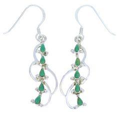 Genuine Sterling Silver Turquoise Hook Dangle Earrings BW74505 http://www.silvertribe.com