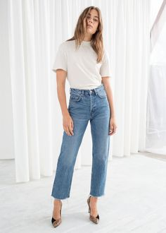 Straight Mid Rise Jeans - Mid Blue - Straight -   Other Stories 35f4774a9fea