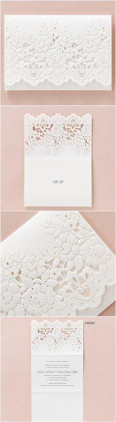 Lace embossed lasercut wedding stationery by B Wedding Invitations