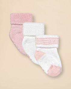 Ralph Lauren Childrenswear Infant Girls' Terry Cuff Socks 3 Pack - Sizes 0-6 Months