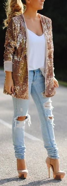 Sequin jacket, ripped jeans and heels