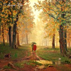 Romance in the Rain - restyle of a painting by Russian artist Ivan Shishkin - see original on blog post http://annevis.blogspot.com/2015/01/romance-and-rain-in-art.html #painting #vintageart #vintage