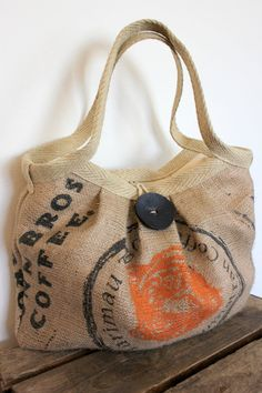 The best kind of recycling! Re-using burlap coffee sacks into a purse!
