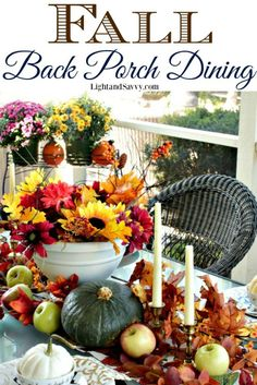 Pretty outdoor dining table decorated for Fall Back Porch Dining