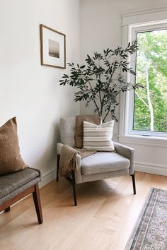 Equal parts cozy and confident, the Nord chair is ready to host a stern talk or a gooey cuddle. With a button-tufted back and curving wooden legs, this gray accent chair is upholstered in a beautiful soft gray fabric. Photo by @peonyaccents. #BedroomInspo #LoungeChair #ReadingChair Grey Accent Chair, Grey Chair, Accent Chairs, Gray Fabric, Tufting Buttons, Bedroom Inspo, Lounge Chairs, Cuddle, Confident