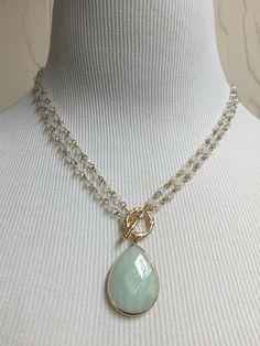 Multi Strand Semi Precious Teardrop Stone Pendant Necklace - Mint