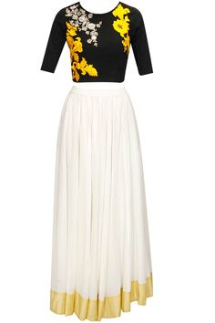 SONALI GUPTA Black dabka embroidered crop top with white long skirt available only at Pernia's Pop-Up Shop.
