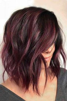 Shiny And Silky Layered Hair. Medium length layered hair styles look fabulous as they are texturized and voluminous at the same time. See our photo gallery to pick the best style. Maroon Hair Colors, Medium Length Hair With Layers, Medium Length Haircuts, Layered Short Hair, Short Bobs, Haircut For Thick Hair, Haircut Long, Bob Hairstyles, Bob Haircuts