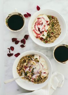 Mix pomegranate seeds into vanilla yogurt to create a beautiful swirl of color in your granola. Inspired by the movie Burnt in theaters October 30th!