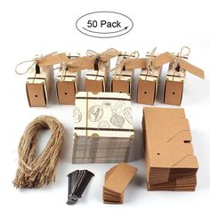 "AerWo 50pcs ""Travel Themed"" Suitcase Favor Boxes + 50pcs Tags, Vintage Kraft Favor Box Candy Gift bag for Travel Theme Party Wedding Birthday Bridal Shower"