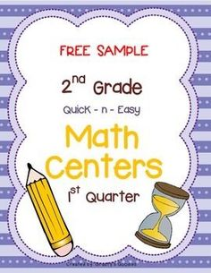 {Free Sample} Math Centers for 1st Quarter (2nd Grade -- Common Core)