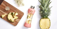 Bring on some summer freshness!1 cup of fresh pineapple pieces (crushed for more a sweeter taste),5 tiny sliced gingers and water.Add the pineapple and ginger to an EQUA bottle of your choice. Pour water over top and leave it until it gets the taste (approximately 20 minutes).
