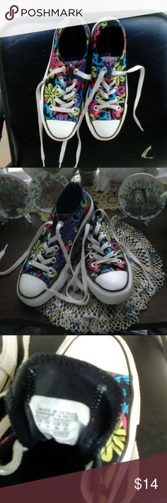 """Converse all star """"flower power"""" sneakers, size 5 Barely worn, excellent condition.  Lowers and peace signs in blue, lime green, pink and purple. Converse Shoes Sneakers"""