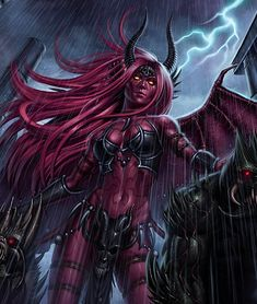 Demons were once angels, but fell from grace by rebelling against God. Female demon art at its best! Some female demons can definitely be hot despite their obvious evil nature. Fantasy Demon, New Fantasy, Fantasy Girl, Dark Fantasy, Female Demons, Evil Demons, Angels And Demons, Ange Demon, Demon Art
