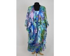 Gorgeous blue and green layered floaty dress with matching jacket. Available in sizes 20-26 at www.middletonwood.co.uk