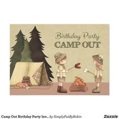 Camp Out Birthday Party Invitation for boy or girl Camping Birthday Invitations, Camping Cards, Boys Camp, Invitation Paper, Invite, Tent Cards, Custom Greeting Cards, Party Supplies, Boy Or Girl