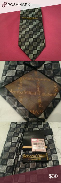 "ROBERT VILLINI COLLEZIONE,  NEW HAND MADE  TIE I HAVE A VERY ELEGANT NEW WITH TAGS, DESIGNER HAND MADE TIE.   IT IS BLACK AND SILVER WITH GEOMETRIC DESIGNS.  THE TIE IS EXTRA LONG, 63INCHES AND 3 3/4"" WIDE.  IT IS 100 % SILK,  MADE IN KOREA.   THIS IS A VERY STUNNING TIE.  IF YOU HAVE ANY QUESTIONS ABOUT THIS TIE, PLEASE ASK Accessories Ties"