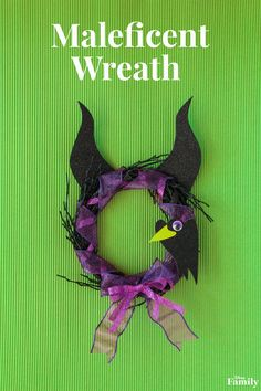 Summon the Mistress of All Evil this Halloween with a DIY Maleficent Wreath. Inspired by the ultimate Disney Villain, this Sleeping Beauty-inspired craft offers the perfect amount of fright and cuteness factor — perfect for decorating a kids room this season!
