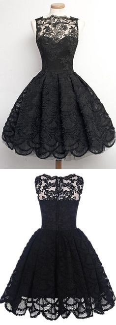 Vintage Homecoming/Prom Dress - Black Sheer Neck with Lace