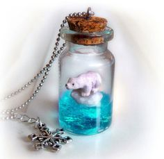 Love this Polar bear on an iceberg in a bottle necklace. such great jewelry on this shop #necklace #polarbear
