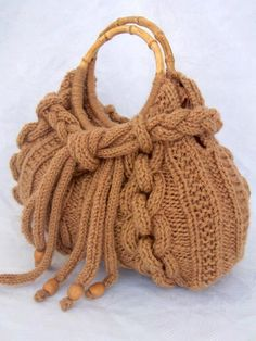 Knitted bags are fashionable and stylish accessory that would be relevant not only in the cold season. These bags are warm an. Fabric Handbags, Crochet Handbags, Crochet Purses, Crochet Bags, Handmade Handbags, Handmade Bags, Hand Knit Bag, Knitting Patterns, Crochet Patterns