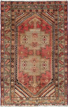 "4'0"" x 6'5"" Vintage Persian 1970's boho peach and taupe   - Rug"