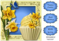 Spring Daffodils Cupcake 8x8 Quick Topper on Craftsuprint - Add To Basket!