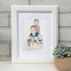 Daddy+and+Me+Hand+Drawn+Illustration, £63.00