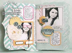Gorgeous mini album by Karola Witczak using Heidi Swapp Memory Files.