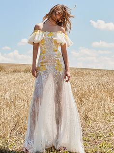 Costarellos Resort 2018 Collection<br />PS18-22<br />Off-The-Shoulder Ruffled Sleeve Long Flared Dress, Ivory