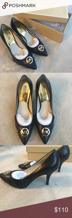 Michael Kors black leather heels Michael Kors, black true leather heels with gold MK accent. Never worn! Size 10M and the style is called Caroline Charm Pump. Style is: 45S4CNHP1L. Comes with box! Michael Kors Shoes Heels