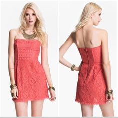 """Free People Pink Lace Strapless Dress NWT Free People stunning """"I Love Lace"""" strawberry strapless dress will make you feel beautifully feminine and sexy! This dress features side and back baning as well as silicone lining for stay up power! It also is fully lined with an exposed back zipper as an extra detail.  *Shell 70% cotton/30% nylon; Lining 100% cotton Free People Dresses Strapless"""