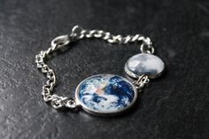 Custom Moon and Earth Bracelet - Glass Dome Earth and Moon Phase and Planet Solar System Bracelet by Chillilimeboutique on Etsy https://www.etsy.com/listing/219019861/custom-moon-and-earth-bracelet-glass