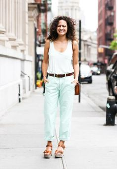 Mint jeans and a light mint tank look fresh and cool for summer
