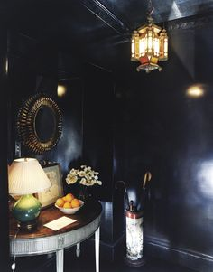 High gloss black hallway