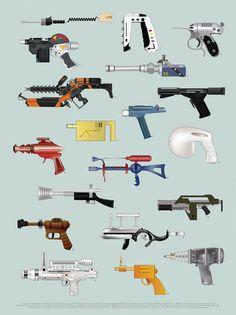 The Space Series: Ray Guns Print By Federico Babina – Magma